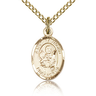 Gold Filled 1/2in St Raymond Charm & 18in Chain