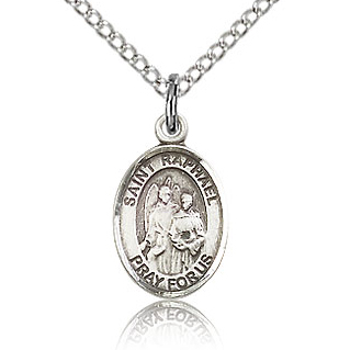 Sterling Silver 1/2in St Raphael Charm & 18in Chain