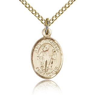 Gold Filled 1/2in St Richard Charm & 18in Chain
