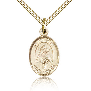 Gold Filled 1/2in St Rita Charm & 18in Chain