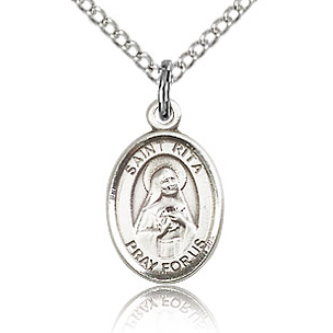 Sterling Silver 1/2in St Rita Charm & 18in Chain