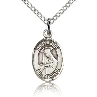 Sterling Silver 1/2in St Rose Charm & 18in Chain