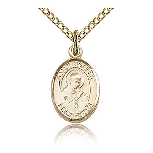 Gold Filled 1/2in St Robert Bellarmine Charm & 18in Chain