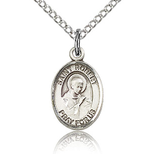 Sterling Silver 1/2in St Robert Bellarmine Charm & 18in Chain