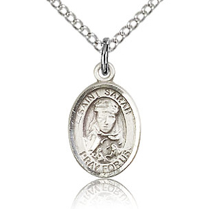 Sterling Silver 1/2in St Sarah Charm & 18in Chain
