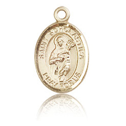 14kt Yellow Gold 1/2in St Scholastica Charm