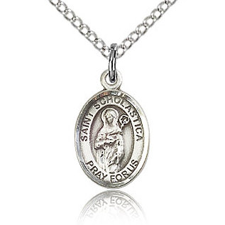 Sterling Silver 1/2in St Scholastica Charm & 18in Chain