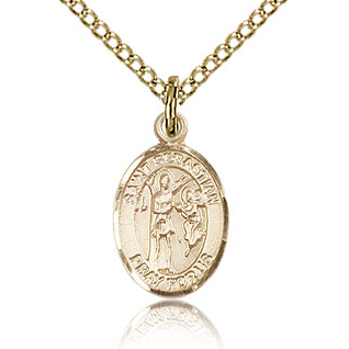 Gold Filled 1/2in St Sebastian Charm & 18in Chain