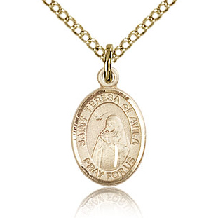 Gold Filled 1/2in St Teresa of Avila Charm & 18in Chain