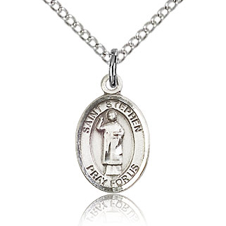 Sterling Silver 1/2in St Stephen Charm & 18in Chain