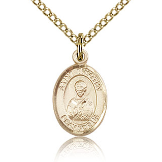 Gold Filled 1/2in St Timothy Charm & 18in Chain