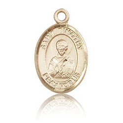 14kt Yellow Gold 1/2in St Timothy Charm