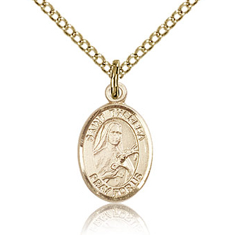 Gold Filled 1/2in St Theresa Charm & 18in Chain