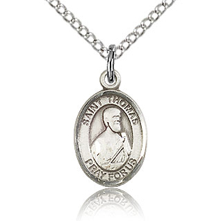 Sterling Silver 1/2in St Thomas the Apostle Charm & 18in Chain
