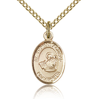 Gold Filled 1/2in St Thomas Aquinas Charm & 18in Chain
