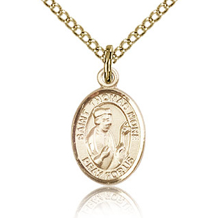 Gold Filled 1/2in St Thomas More Charm & 18in Chain