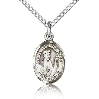 Sterling Silver 1/2in St Thomas More Charm & 18in Chain