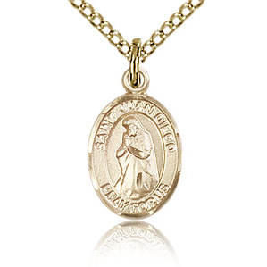 Gold Filled 1/2in St Juan Diego Charm & 18in Chain