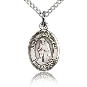 Sterling Silver 1/2in St Juan Diego Charm & 18in Chain