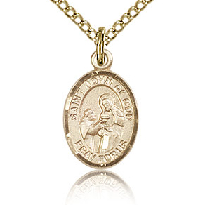 Gold Filled 1/2in St John of God Charm & 18in Chain