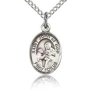 Sterling Silver 1/2in St John of God Charm & 18in Chain