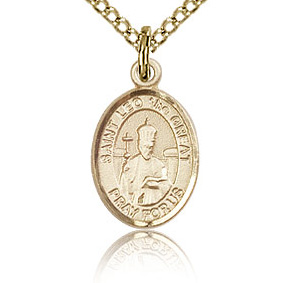 Gold Filled 1/2in St Leo the Great Charm & 18in Chain