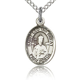 Sterling Silver 1/2in St Leo the Great Charm & 18in Chain