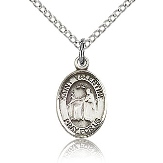Sterling Silver 1/2in St Valentine Charm & 18in Chain