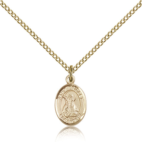 Gold Filled 1/2in St Bridget Charm & 18in Chain