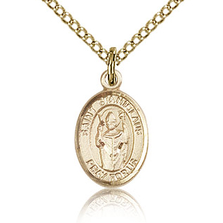 Gold Filled 1/2in St Stanislaus Charm & 18in Chain