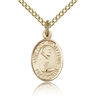 Gold Filled 1/2in St Pio Charm & 18in Chain
