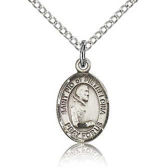 Sterling Silver 1/2in St Pio Charm & 18in Chain