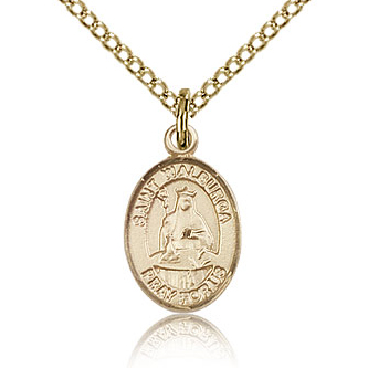 Gold Filled 1/2in St Walburga Charm & 18in Chain