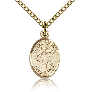 Gold Filled 1/2in St Ursula Charm & 18in Chain