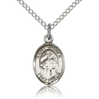 Sterling Silver 1/2in St Ursula Charm & 18in Chain