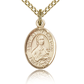 Gold Filled 1/2in St Gemma Galgani Charm & 18in Chain
