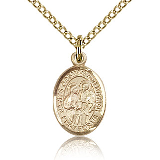 Gold Filled 1/2in St Cosmas and Damian Charm & 18in Chain