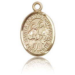 14kt Yellow Gold 1/2in St Cosmas and Damian Charm