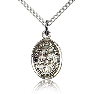 Sterling Silver 1/2in St Cosmas and Damian Charm & 18in Chain