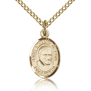 Gold Filled 1/2in St Vincent de Paul Charm & 18in Chain