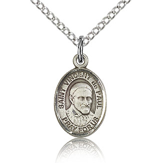 Sterling Silver 1/2in St Vincent de Paul Charm & 18in Chain