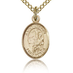Gold Filled 1/2in St Jerome Charm & 18in Chain