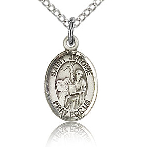Sterling Silver 1/2in St Jerome Charm & 18in Chain