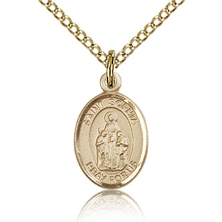Gold Filled 1/2in St Sophia Charm & 18in Chain