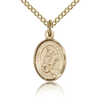 Gold Filled 1/2in St Martin of Tours Charm & 18in Chain