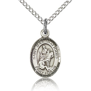 Sterling Silver 1/2in St Martin of Tours Charm & 18in Chain