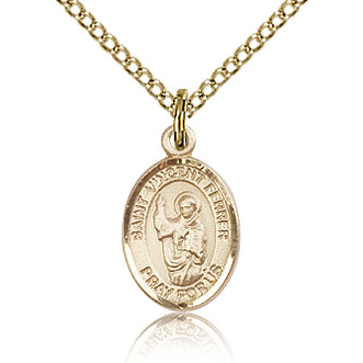 Gold Filled 1/2in St Vincent Ferrer Charm & 18in Chain