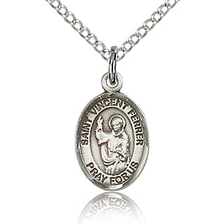 Sterling Silver 1/2in St Vincent Ferrer Charm & 18in Chain