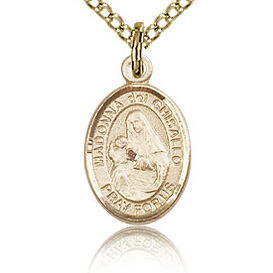 Gold Filled 1/2in St Madonna Del Ghisallo Charm & 18in Chain