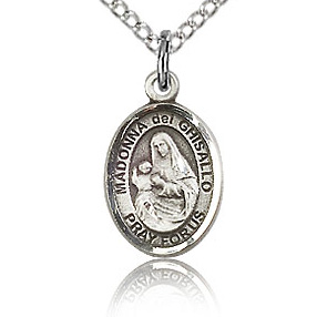 Sterling Silver 1/2in St Madonna Del Ghisallo Charm & 18in Chain